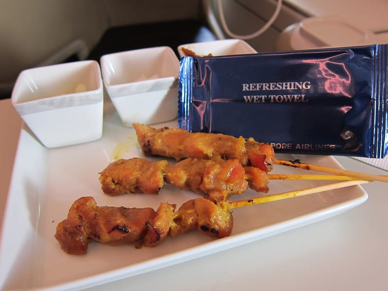 photos of a meal on the A380
