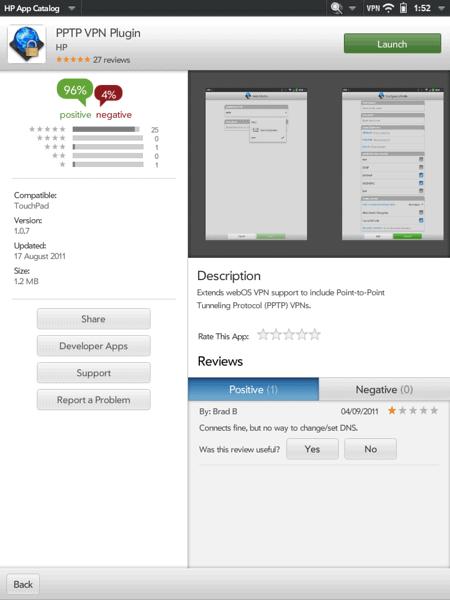 VPN in HP Touchpad