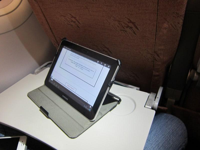 A Samsung Galaxy Tab on the plane