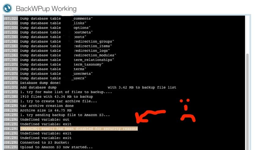 WordPress BackWPup Error shell_exec() has been disabled for security reasons