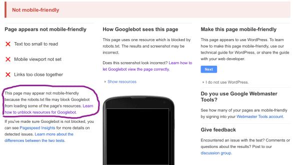 Google Mobile Test Results