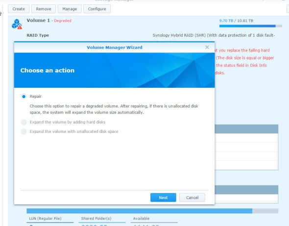 Synology Degraded Mode Repair 1