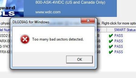 Too many bad sectors
