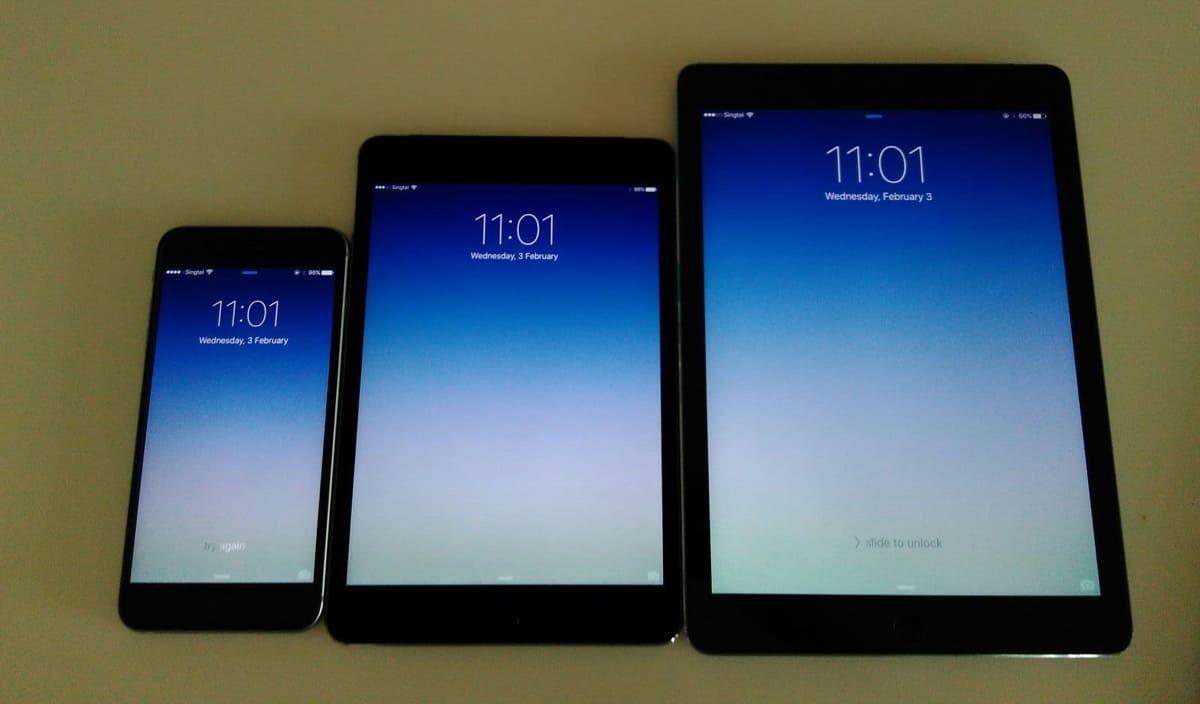 iPad Mini 4 vs iPhone 6SPlus vs iPad Air