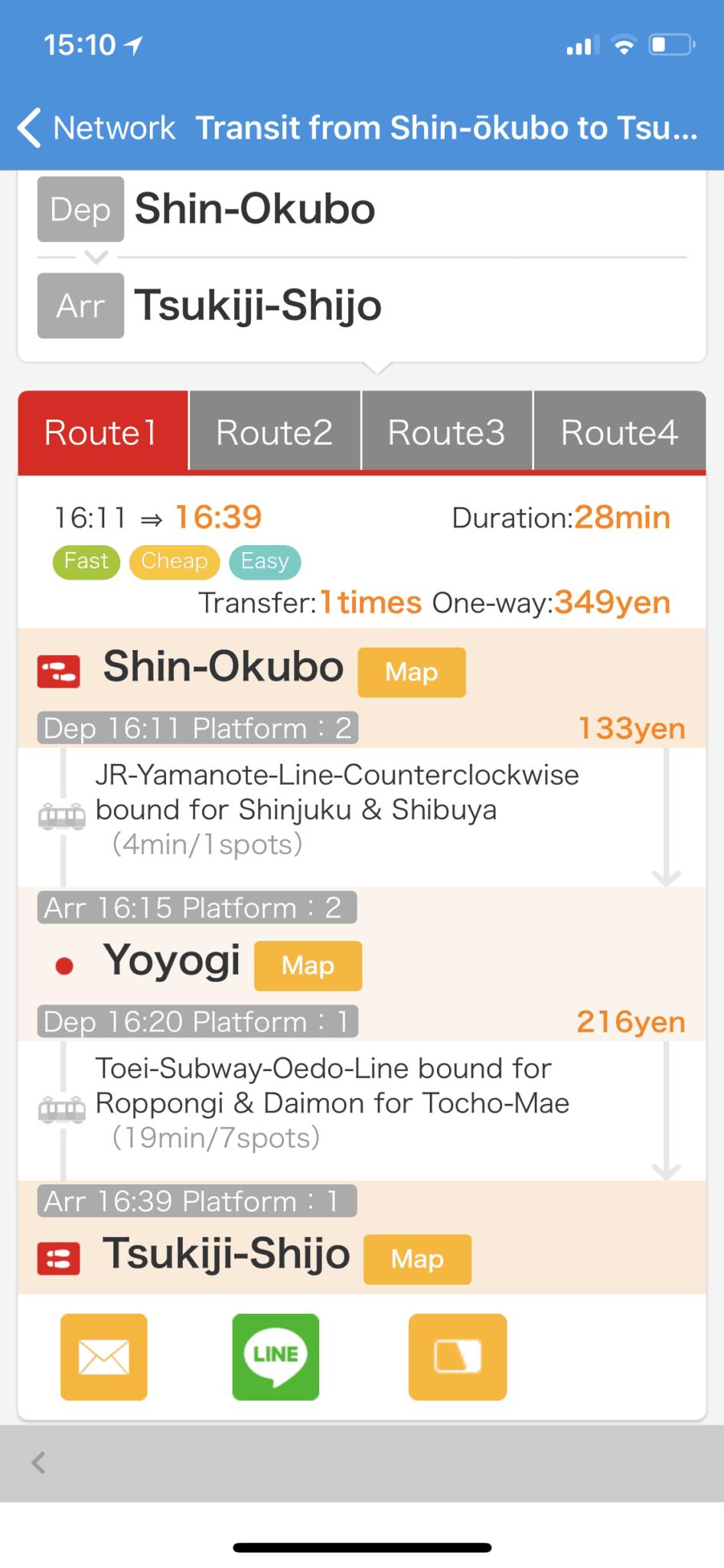 Shin-Okubu to Yoyogi to Tsukiji-Shijo