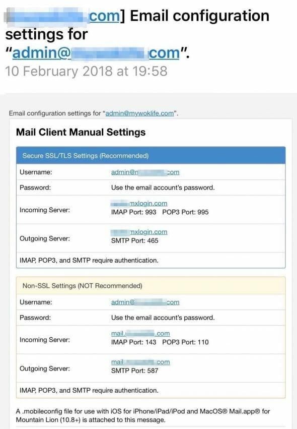 Email Hosting Settings