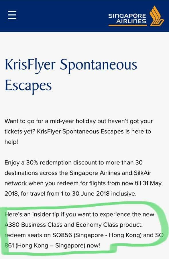 KrisFlyer Spontaneous Escapes To Hong Kong