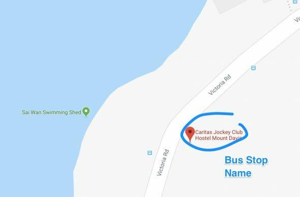 Bus Stop Opposite Sai Wan Swimming Pool Caritas Jockey Club Hostel Mount Davis