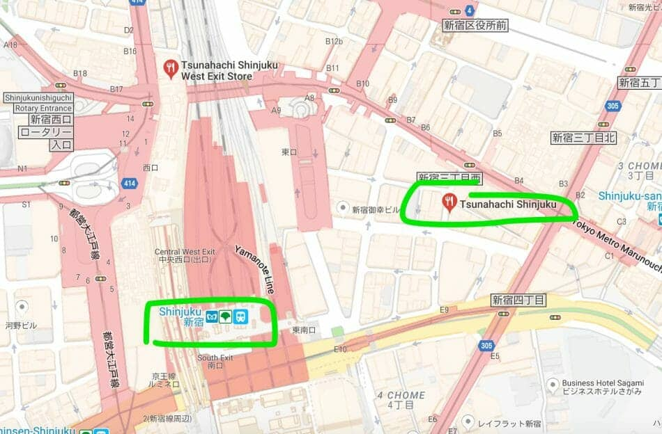 How to get to Tsunahachi Tempura at Shinjuku
