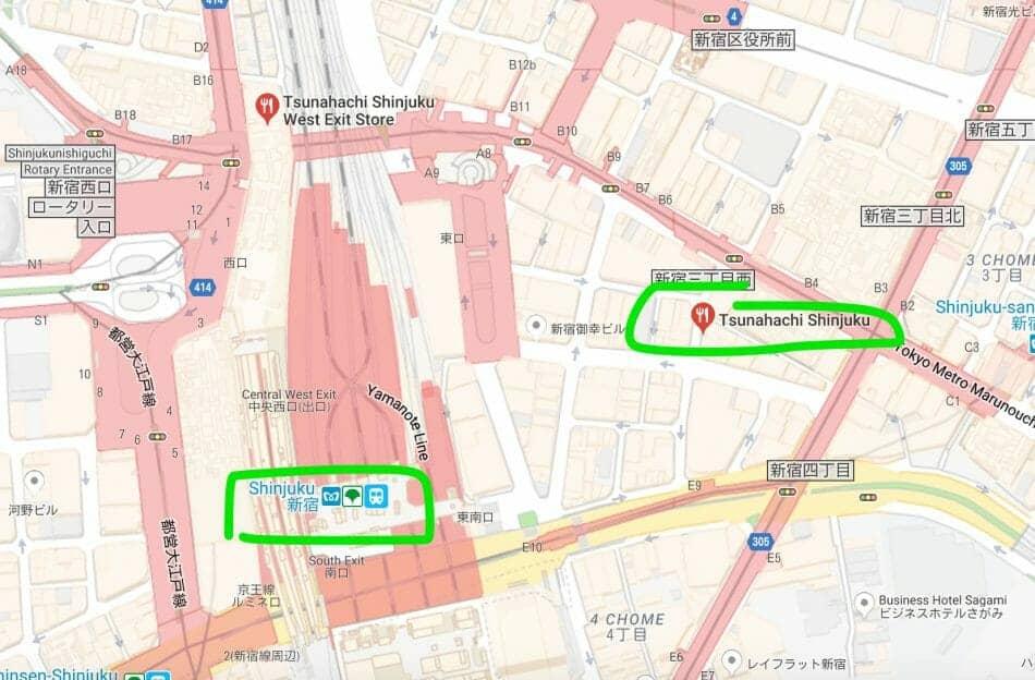 How to get to Tsunahachi Tempura at Shinjuku