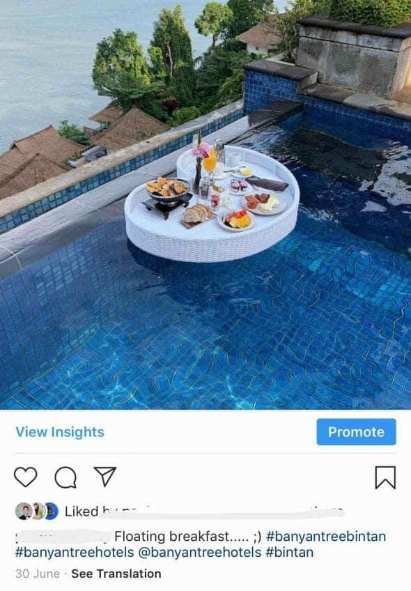 Instagram Banyan Tree Bintan Floating Breakfast