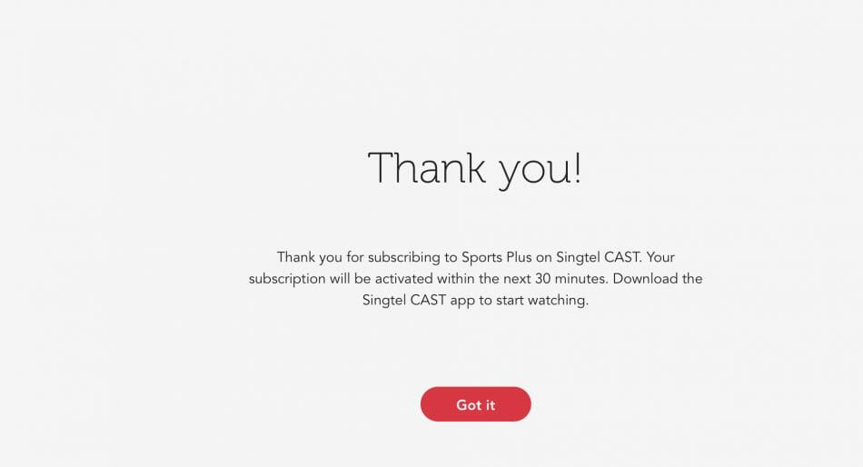 SingTel Cast Sports Plus Confirmation
