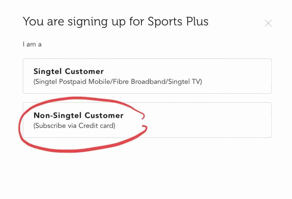 Signing up for SingTel Cast Sports Plus using credit card