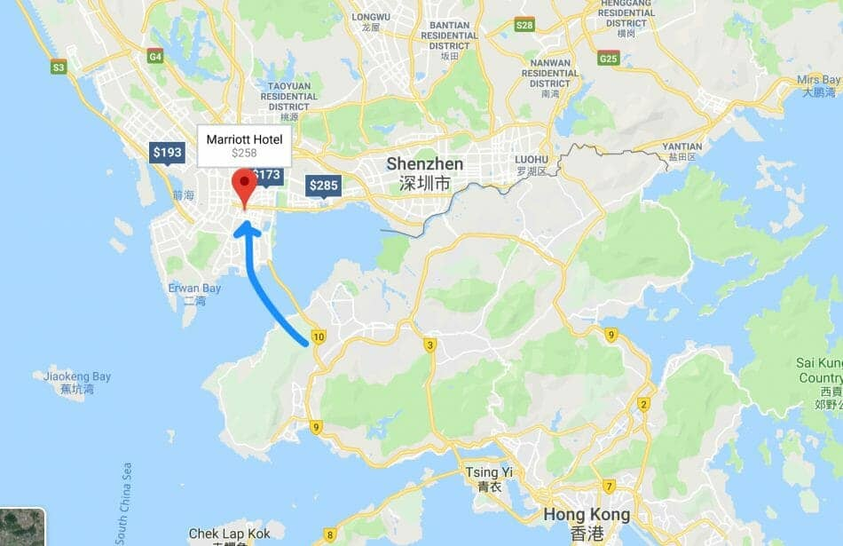 How to get to Marriott Shenzhen Nanshan from Hong Kong