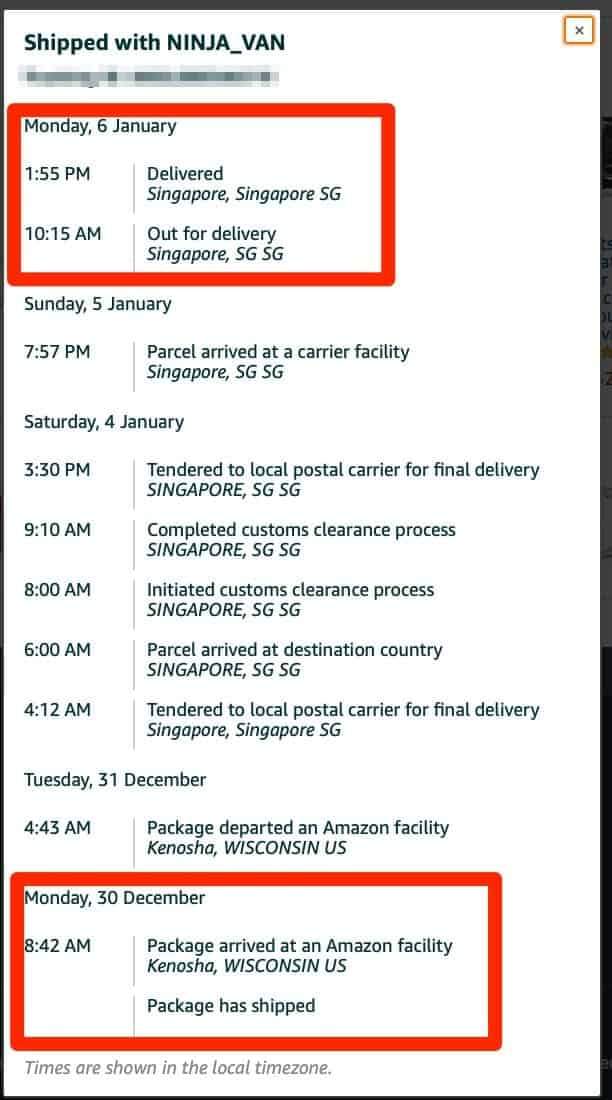 Delivery of the Amazon to Singapore