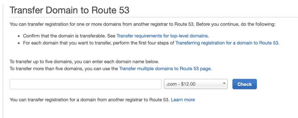 Transfer Domain to Route 53