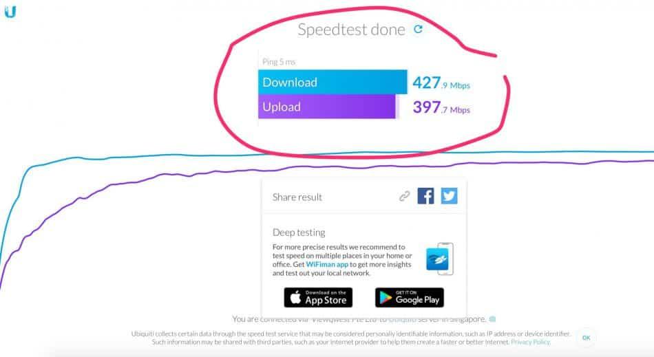 EdgeRouter X Speed Test BEFORE HW Offloading