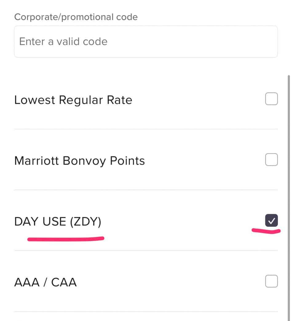 ZDY Rate for Day Use