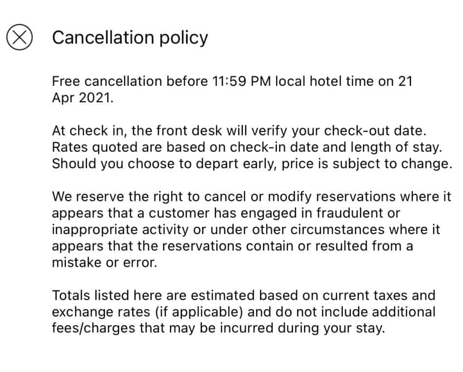 Hilton Cancellation Policy for Day Stays
