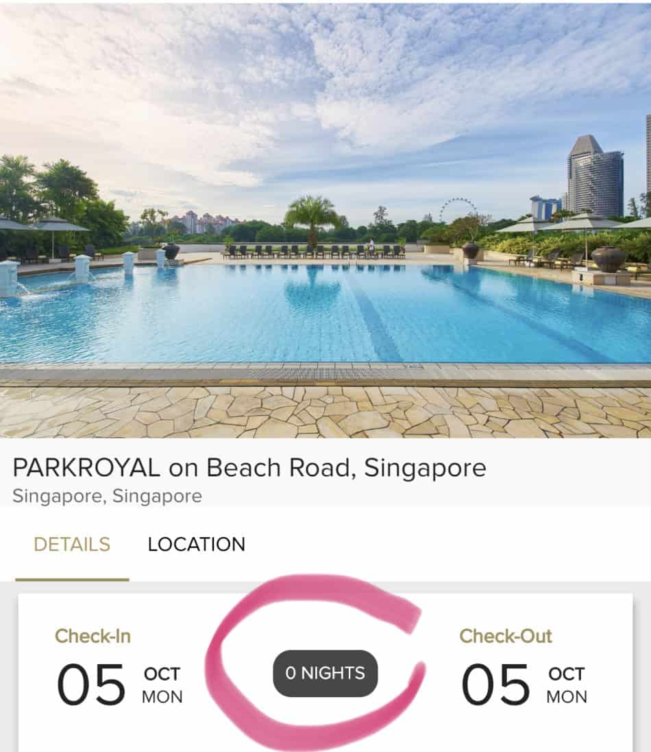 Day Stay at ParkRoyal does not qualify as a night stay